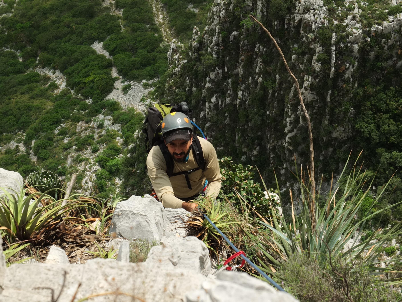 Ramón Narváez escalando Reinas y Reyes en la Huasteca